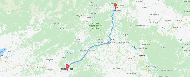 Грузоперевозки Новосибирск - Томск