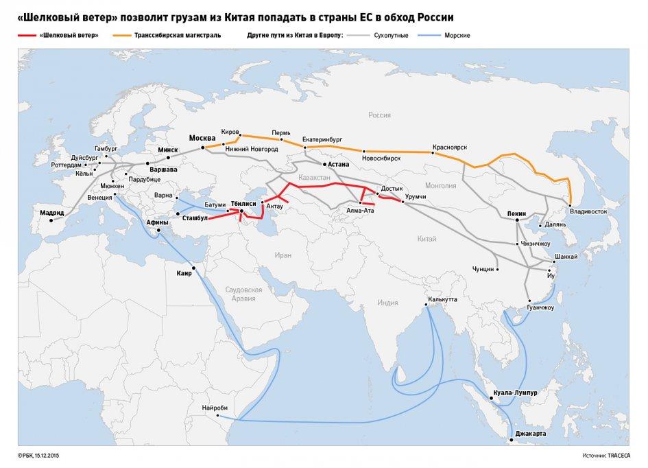 Возрос объем перевозок в направлении Китай-Европа-Китай